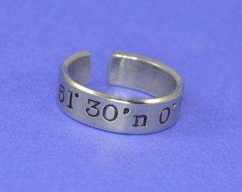 Custom Latitude Longitude Coordinates  Ring