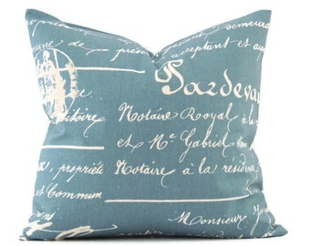 Blue French Pillow, 16x16 Pillow Cover, Accent Pillow, Decorative Pillows, Handwriting Script, Cushion Cover, Penmanship Denim