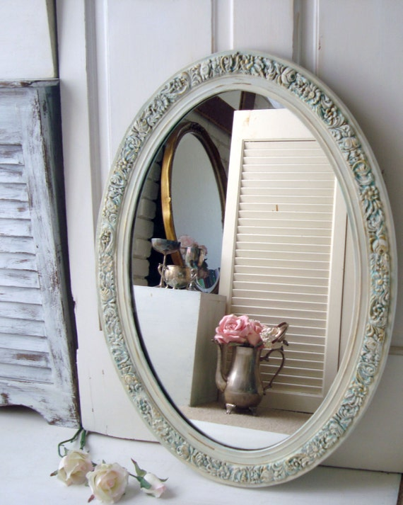 Antique white oval ornate mirror large distressed vintage mirror with