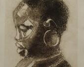 SALE African Girl  Portrait -Collograph