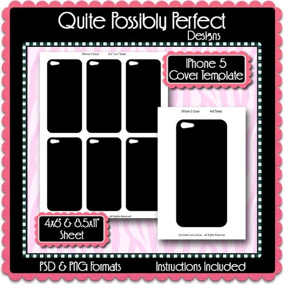 iphone cut out template - iphone 5 cellphone cover template instant by