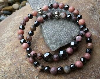 Pink bracelets/stretch bracelets/bracelet stack/bead bracelet set/rhodonite bracelets/hematite bracelets/stone bracelets/natural bracelets
