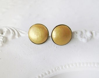 Antique gold stud earrings . Ear studs from polymer clay . Handmade Ear studs .  Earrings .
