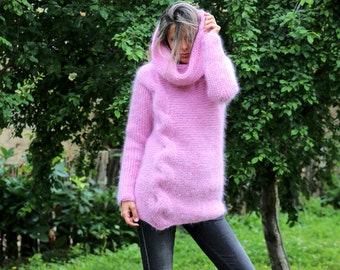 Hand Knit Mohair Sweater Cable Pink Fuzzy Turtleneck Jumper Pullover Jersey MADE to ORDER - by Extravagantza
