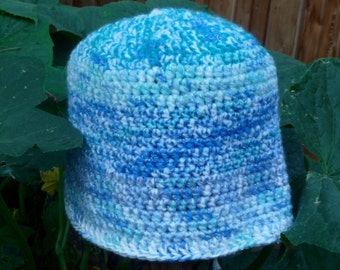 Women's BLUEBear  crochet signature Beanie hat with shades of blue dual yarn