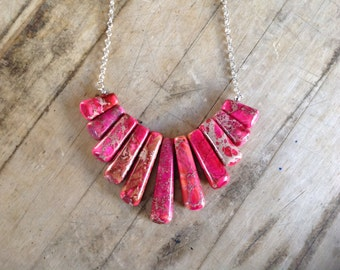Pink Jasper Statement Necklace