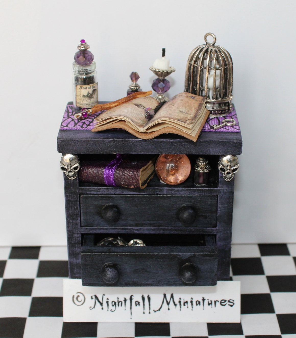 Dollhouse Miniature Spooky Gothic Halloween Witch Bedside