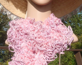 Frilly Pink Ruffle Scarf