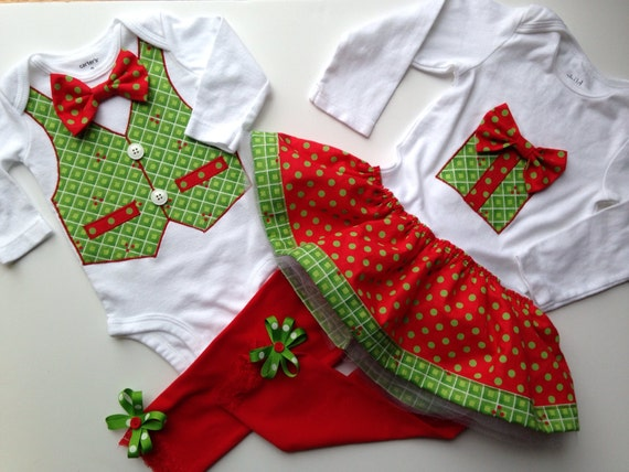 Christmas Twins Sister Brother Holiday Outfit by SweetTootsy