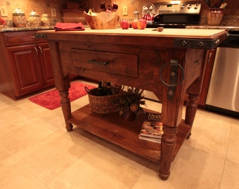 Rustic Butcher Block Kitchen Island - Handmade from reclaimed oak barn wood - handforged iron accents - Country or Traditional Furniture