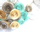 Mint Summer Wedding - Mint Paper Flowers - Bridal Bouquet - Wedding Centerpiece - Gold and Mint Flowers - Two Dozen Roses - Beach Wedding