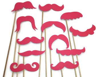 Photo Booth Props- 12 Piece Mustache Variety Set- Gender Reveal- Valentines Day