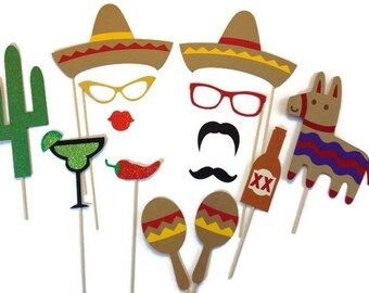 Photo Booth Props -  14 Piece Cinco de Mayo Set