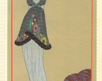 Two Vintage Book Plates of Women's Fashion: Paul Poiret. 1971.