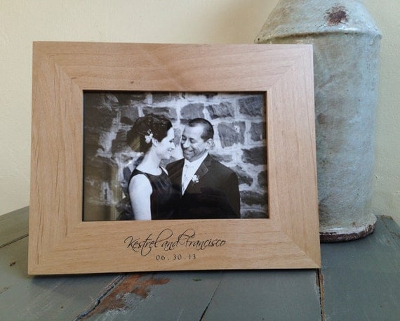 5x7 personalized picture frame engraved wood by engravemethis. Black Bedroom Furniture Sets. Home Design Ideas