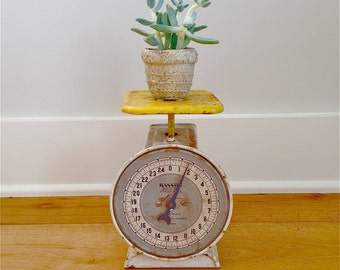 Vintage Yellow & White Hanson Utility Scale from Maine Barn