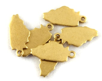 6x Blank Brass Illinois State Charms - M073-IL