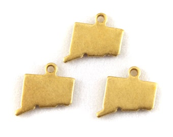 6x Blank Brass Connecticut State Charms - M073-CT