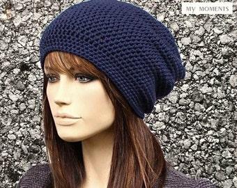 Crochet Beanie Cap Cotton marine blue