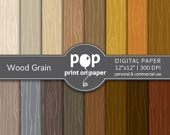 Wood Grain / Faux Bois digital paper -  16 papers - 12x12 inches - 300 DPI - Personal & Commercial use