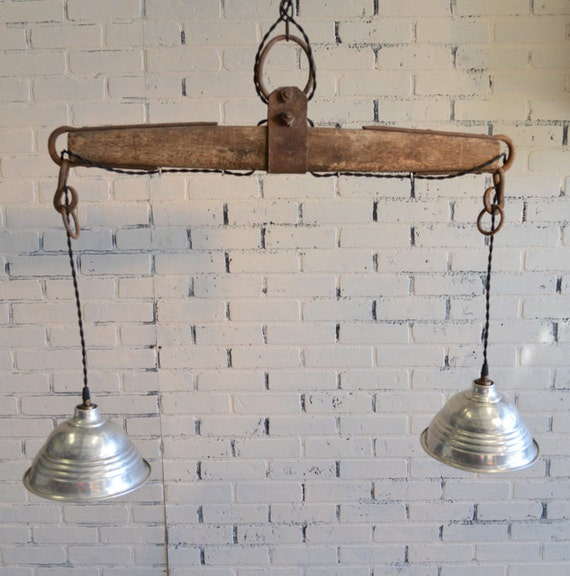 Repurposed Yoke Hanging Light Country Home Ranch House