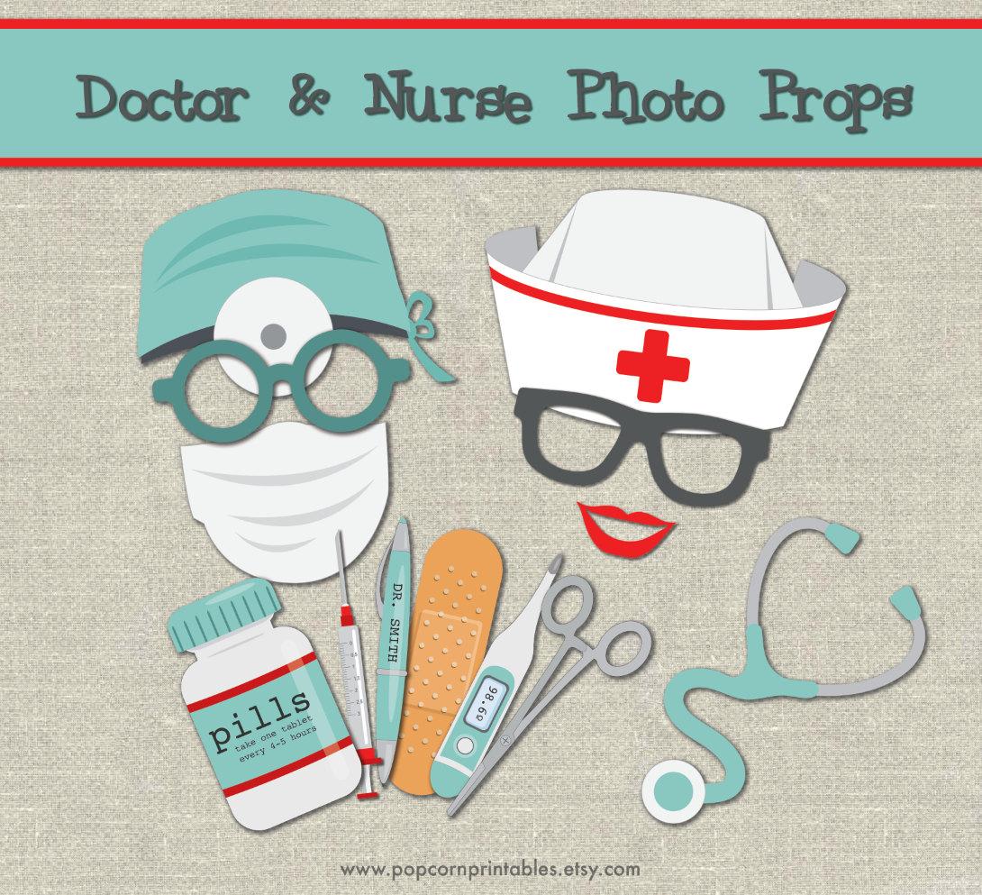 doctor u0026 nurse photo booth props diy instant download adobe