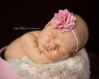 Emma, Burlap Flower, Pink Headband, Flower Headband, Newborn Headband, Newborn Photo Prop, Many Colors Available