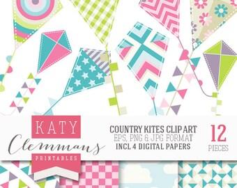 COUNTRY KITES digital clip art with digital paper pack. Printable kite illustrations, patterns, scrapbook art - instant download.