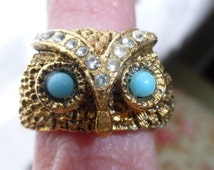 Great Old Vintage 1960s Owl Ring With Rhinestones and Turquoise, Adjustable, Size 6-8