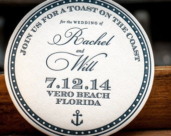 Save the Date Letterpress coasters