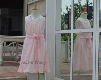 Ivory Lace Pink Chiffon Flower Girl Dress Knee Length  Dress With Sash