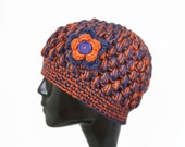 Crochet Bubble Hat, Football Team Colors, Chicago Bears, Denver Broncos, Blue and Orange, Womens Fashion, Winter Accessories - READY TO SHIP