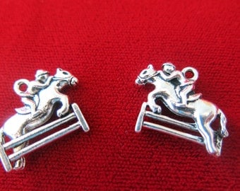 "8pc ""Jockey"" charms in antique silver style (BC310)"