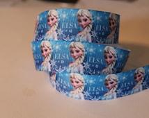 "1 Yard of  Frozen Elsa Snowflake 7/8"" Grosgrain Ribbon"