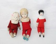 Two Stunning Vintage Bisque Shoulder Boy/Girl Head Dolls + Antique China Head Doll /MEMsArtShop
