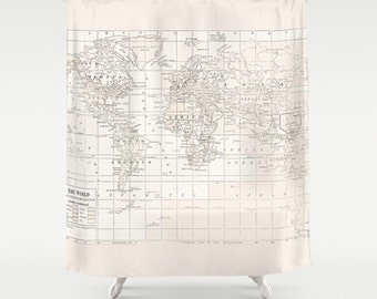 Cream on White World Map Shower Curtain - Historical map - Home Decor - Bathroom - travel decor, minimalist, fabric, bathroom,