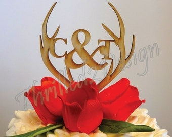 6 inch Deer Antler with Monogram CAKE TOPPER - Celebrate, Party, Cake Decoration, Camo