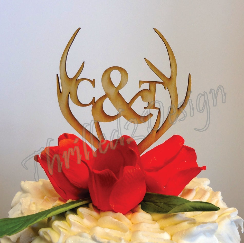 6 inch Deer Antler with Monogram CAKE TOPPER Celebrate