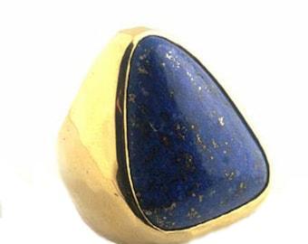 Lapis Lazuli 18K Gold Triangular Chevalier Ring