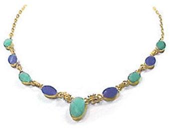 Lapis Lazuli, Malachite and 18K Gold Semicollar