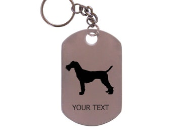 Personalized Engraved Schnuazer Breed Stainless Steel Dog Tag Keychain