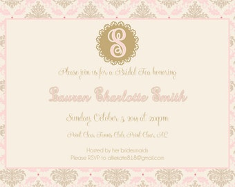 Pink and Gold Damask Bridal Tea Invitation