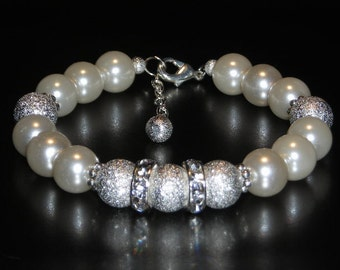 Glass Pearl, Silver Stardust Bead and Crystal Rondelle Bracelet