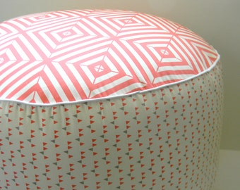 Pouf- Coral/Watermelon and Grey Pouf-  Child Pouf- Foot Rest-Nook Seating- Geometric Pouf- Nursery Pouf-  Pouf Ottoman
