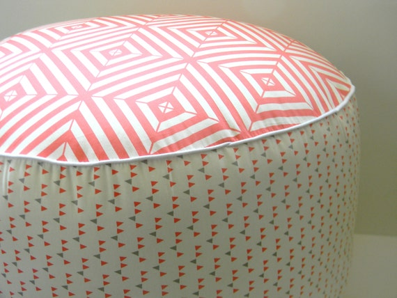 Items Similar To Pouf Coral Watermelon And Grey Pouf