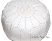 White Moroccan Leather Pouf - LeatherPoufs