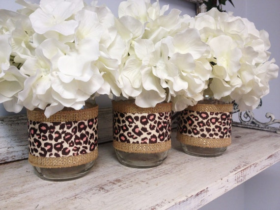 Items similar to set of 3 burlap and leopard print ribbon wrapped mason jars perfect for gifts - Cheetah print centerpieces ...