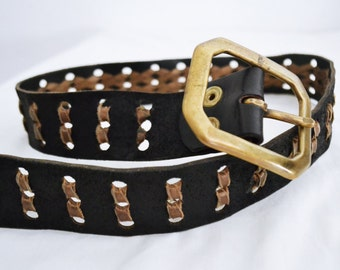 Free Ship,leather belt, Leather, Weaved, brown, black, with buckle