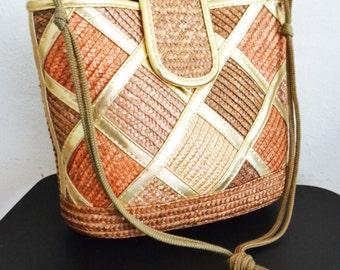 Geometric Woven Purse ,Brown,Gold,bag,purse, Shoulder Bag