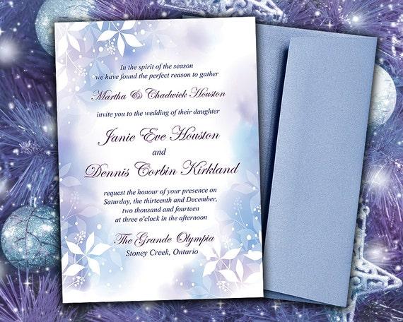 DIY Wedding Invitation Template Watercolor Winter